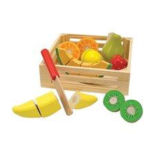18 Piece Play Food Cutting Fruit Crate Set