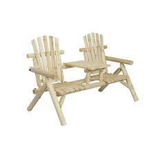#1 Log 2 Seat Fir Wood Tete-a-Tete Bench