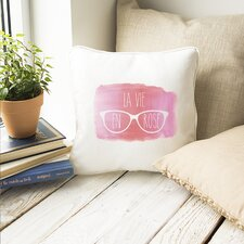 Lovely Printed Canvas La Vie En Rose Throw Pillow