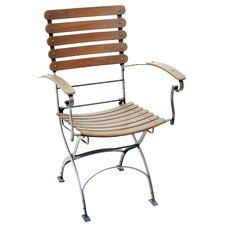 Toscana Iron and Teak Folding Dining Arm Chair