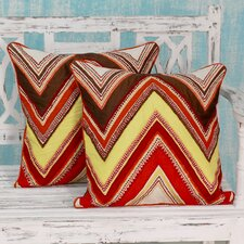 Zigzag Brilliance Embroidered Applique Pillow Cover (Set of 2)