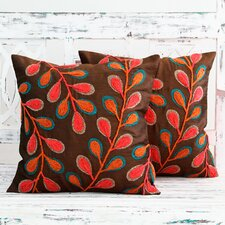 Reviews Festival of Foliage India Leaf Theme Embroidered Pillow Cover (Set of 2)