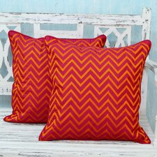 Tribal Machine Embroidered Geometric Pillow Cover (Set of 2)