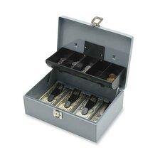 """Cash Box, 5 Compartments, 11-3/8""""x7-1/2""""x3-3/8"""", Gray"""