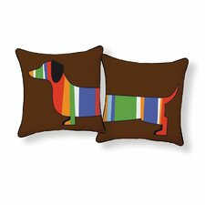 Dachshund Stripped Throw Pillow