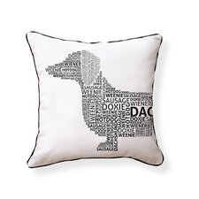 Dachshund Typography Indoor/Outdoor Throw Pillow