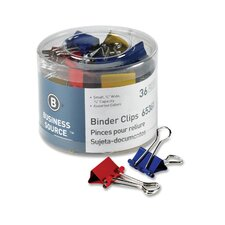 """Binder Clips, Small 3/4""""W, 3/8"""" Capacity, 36 per Pack, Assorted (Set of 4)"""