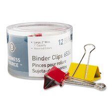 """Binder Clips, Large 2""""W, 1"""" Capacity, 12 per Pack, Assorted (Set of 3)"""