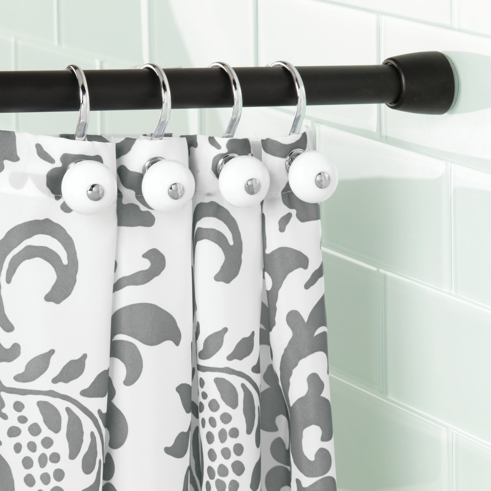 Interdesign Cameo 26 3 Adjustable Straight Tension Shower Curtain