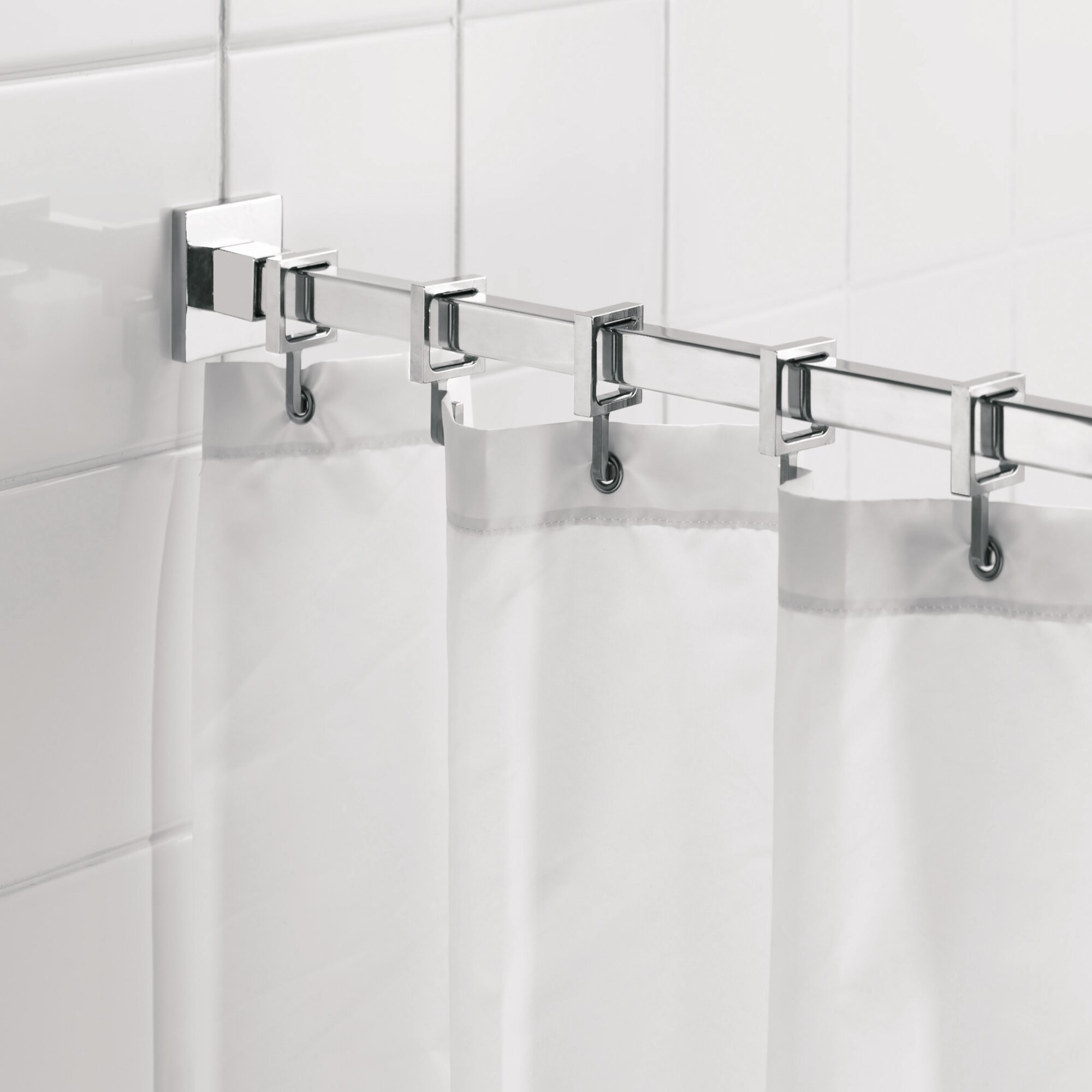 Details About Croydex Luxury 9825 Adjustable Straight Fixed Shower Curtain Rod Hook Set