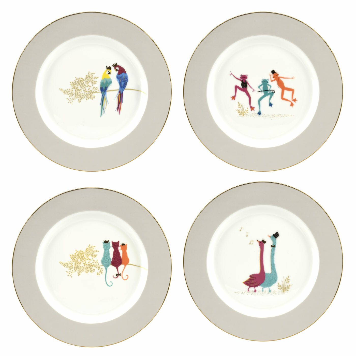 Set of 4-28cm Sara Miller London Tahiti Dinner Plates Portmeirion