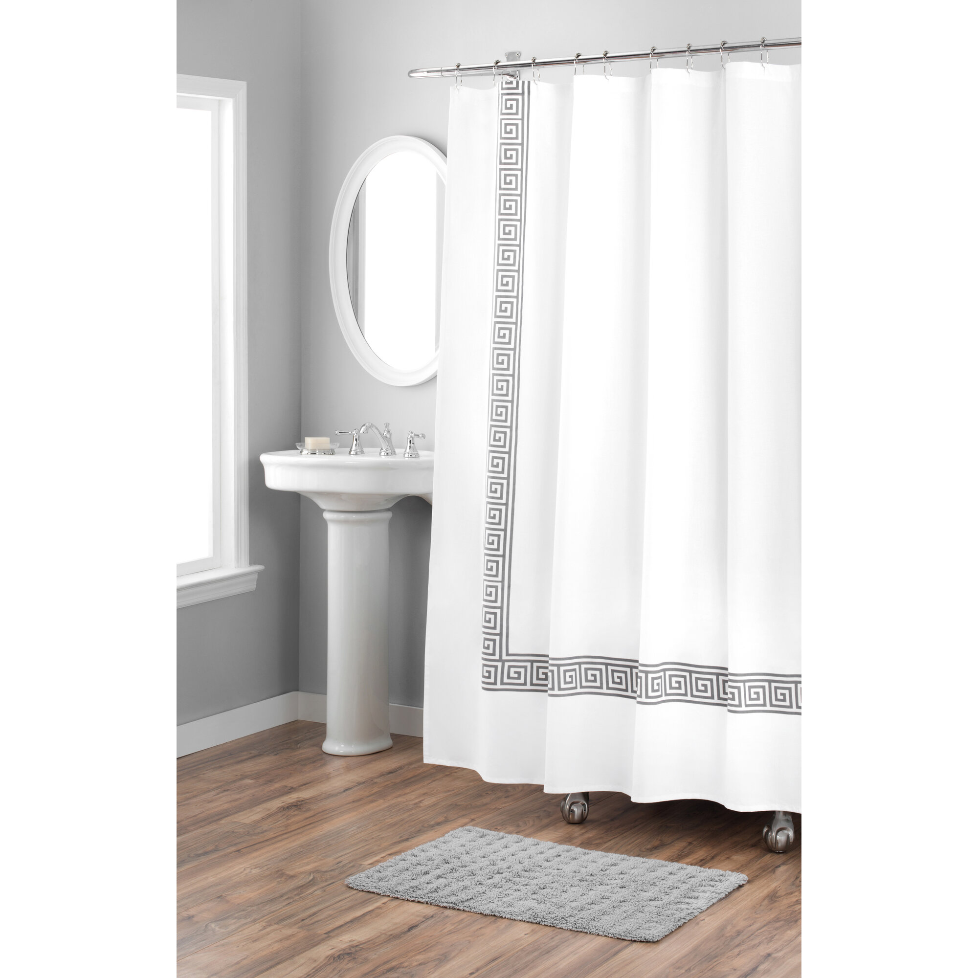 Details About Nicole Miller Greek Key Cotton Single Shower Curtain