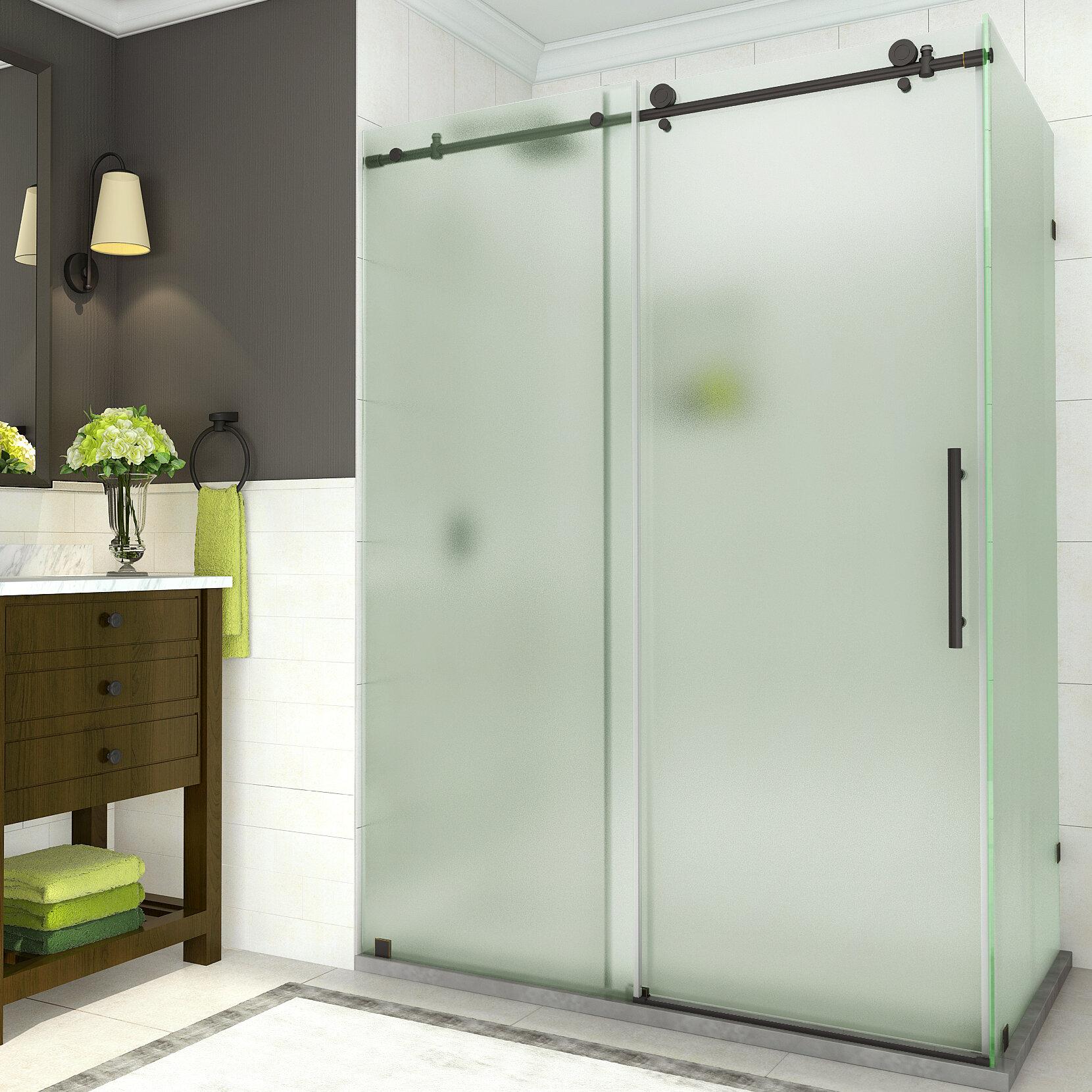 Details About Aston Coraline 60 X 76 Single Sliding Frameless Shower Door Oil Rubbed Bronze