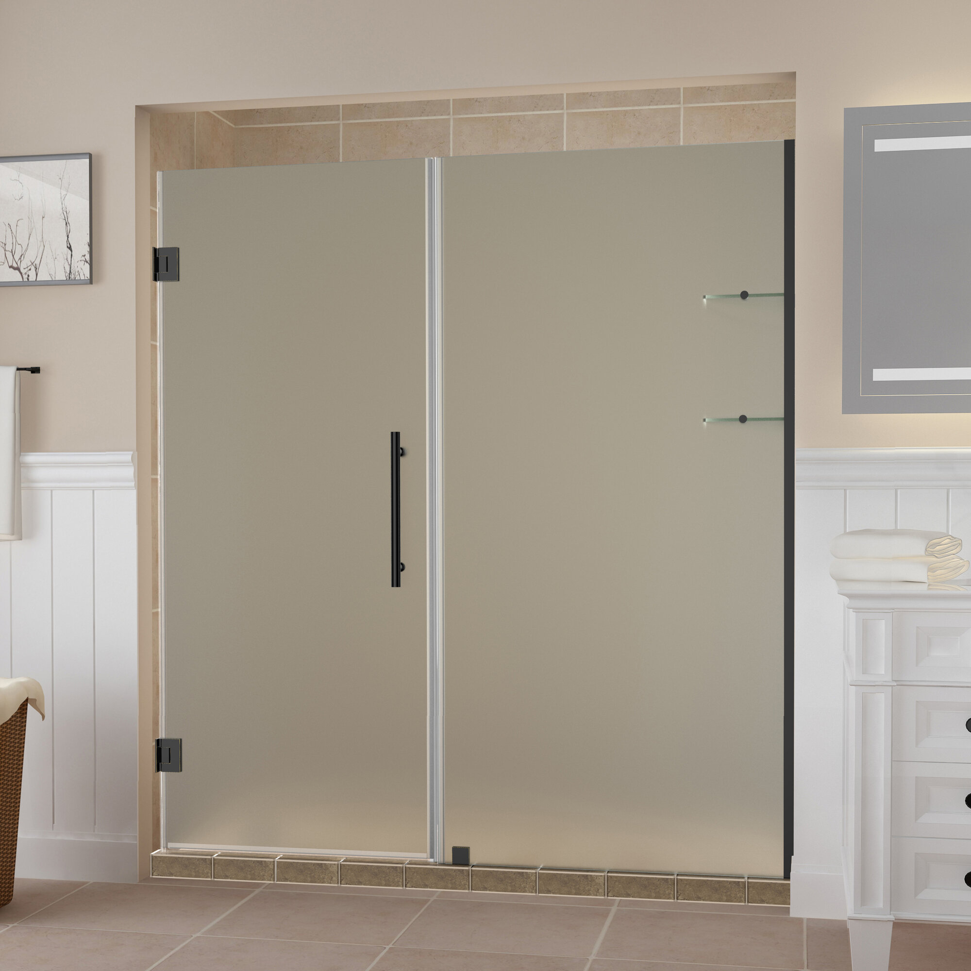 Details About Aston Belmore Gs 48 X 72 Hinged Frameless Shower Door Oil Rubbed Bronze Clear