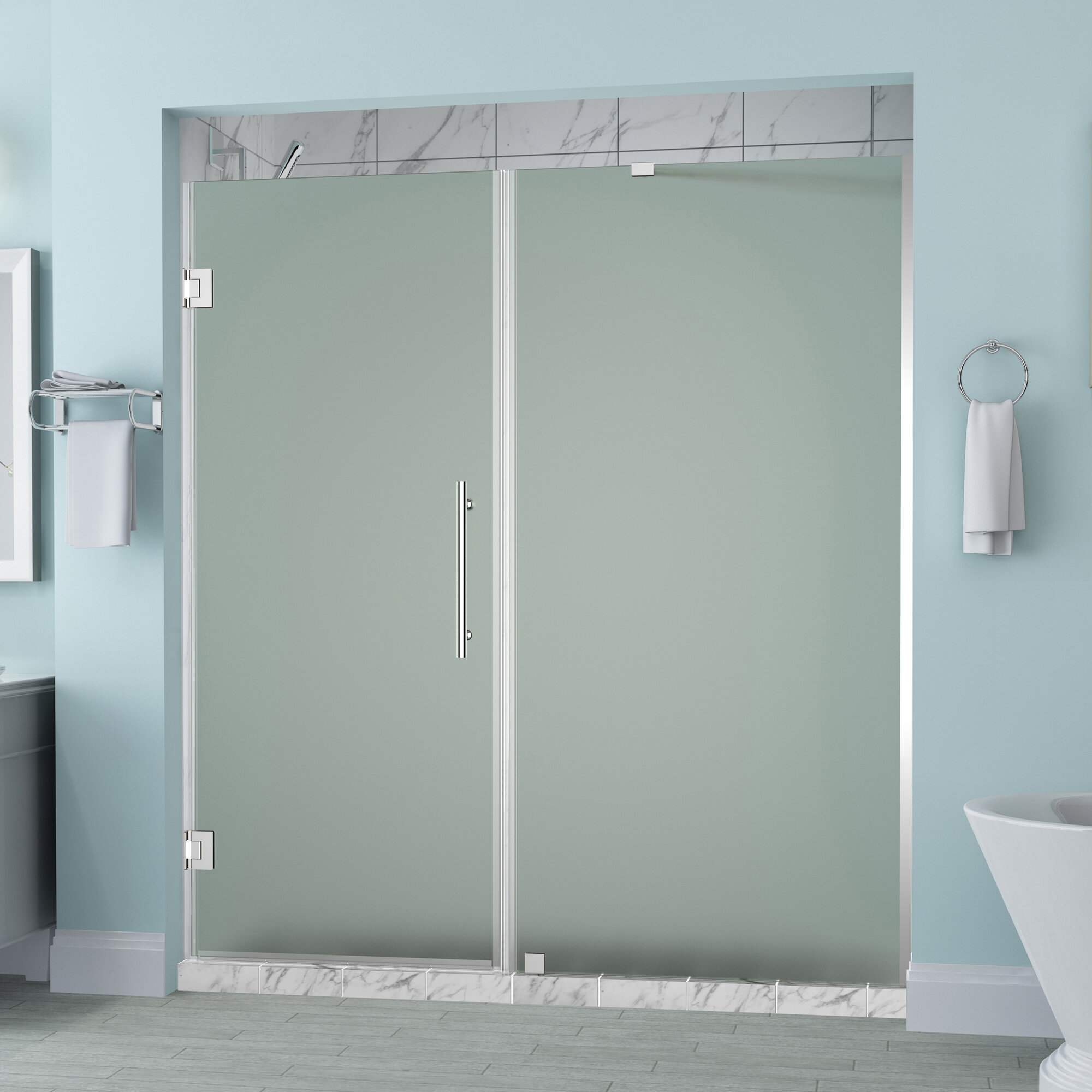 Details About Aston Belmore 62 X 72 Hinged Frameless Shower Door Oil Rubbed Bronze Frosted