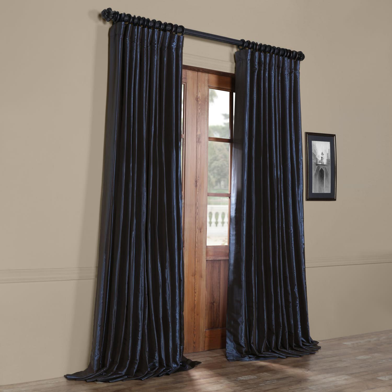 half price drapes faux silk extra wide taffeta blackout single curtain panel ebay. Black Bedroom Furniture Sets. Home Design Ideas