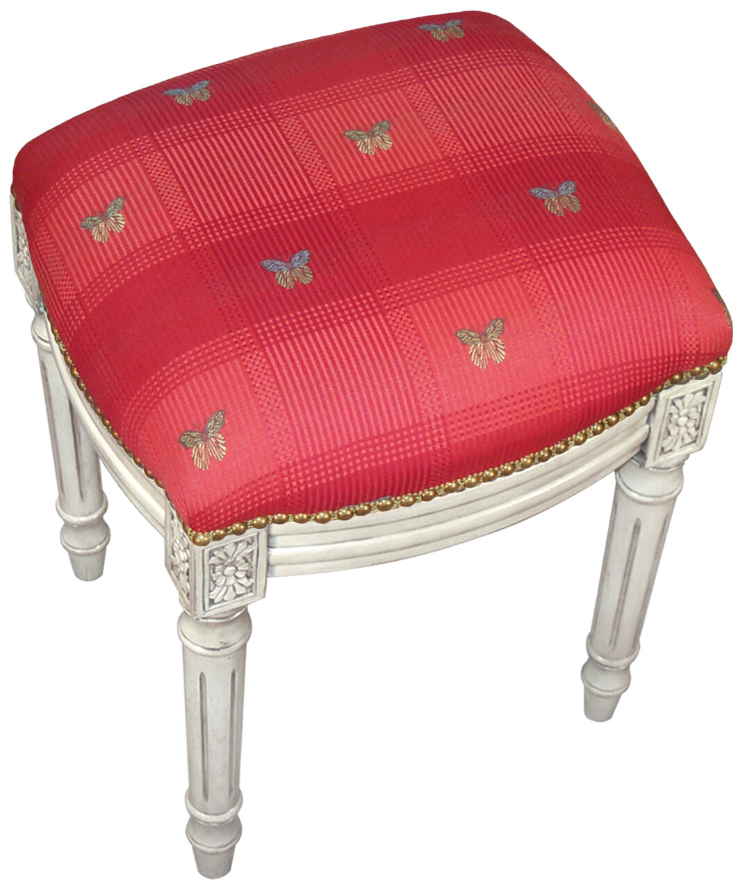 Terrific Details About 123 Creations Butterfly Upholstered Vanity Stool Theyellowbook Wood Chair Design Ideas Theyellowbookinfo