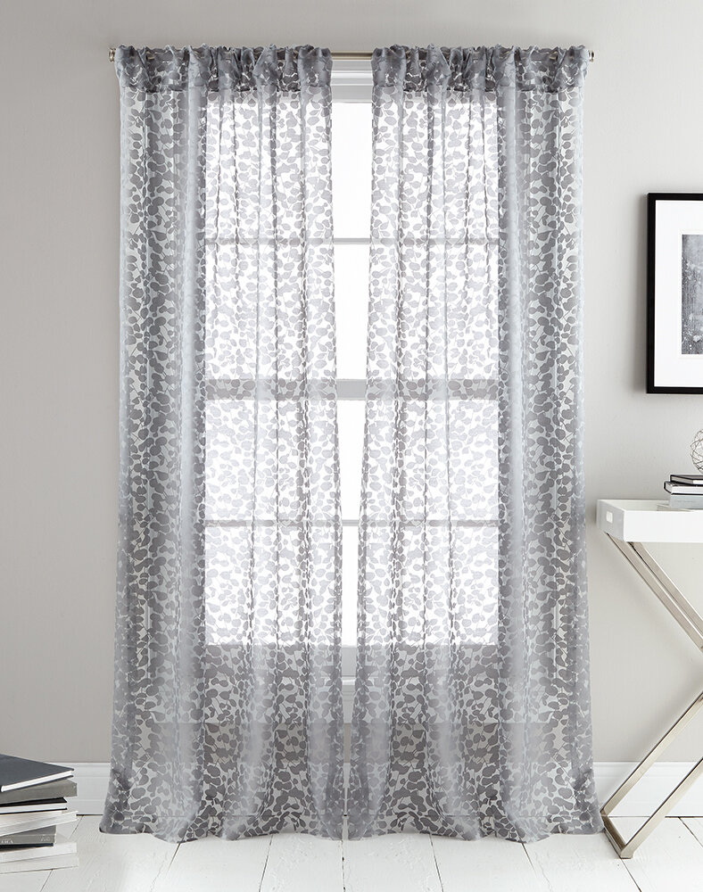 Details About Dkny Halo Ii Abstract Semi Sheer Curtain Panels 50 W X 96 L Gray Set Of 2