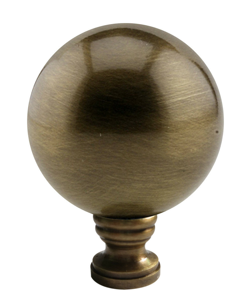 Lamp Shade Harp Finial 30MM Ocean Sea Blue Glass Sphere Brass Base W//Adapt