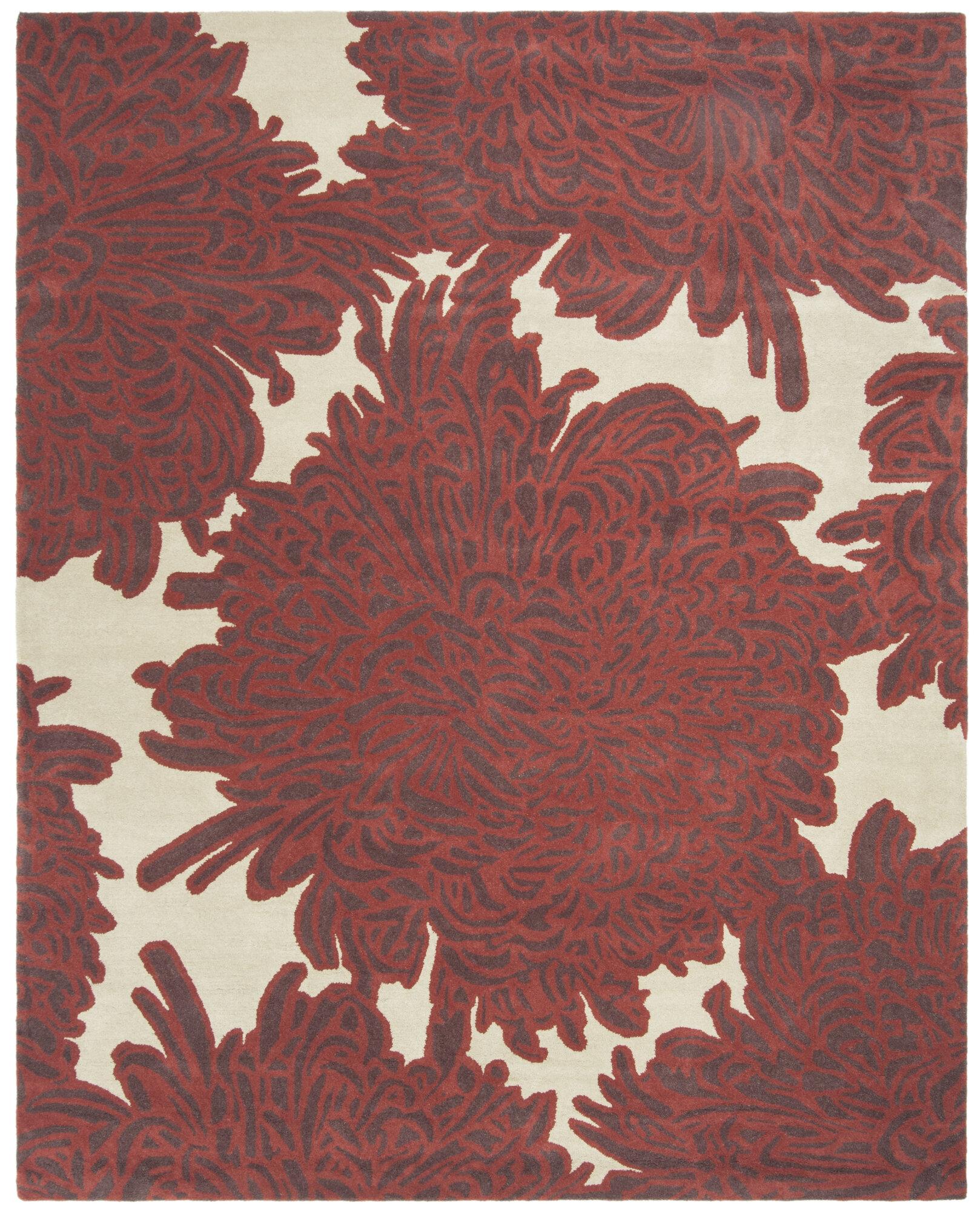 Details About Martha Stewart Chrysanthemum Hand Tufted Wool Red Beige Area Rug