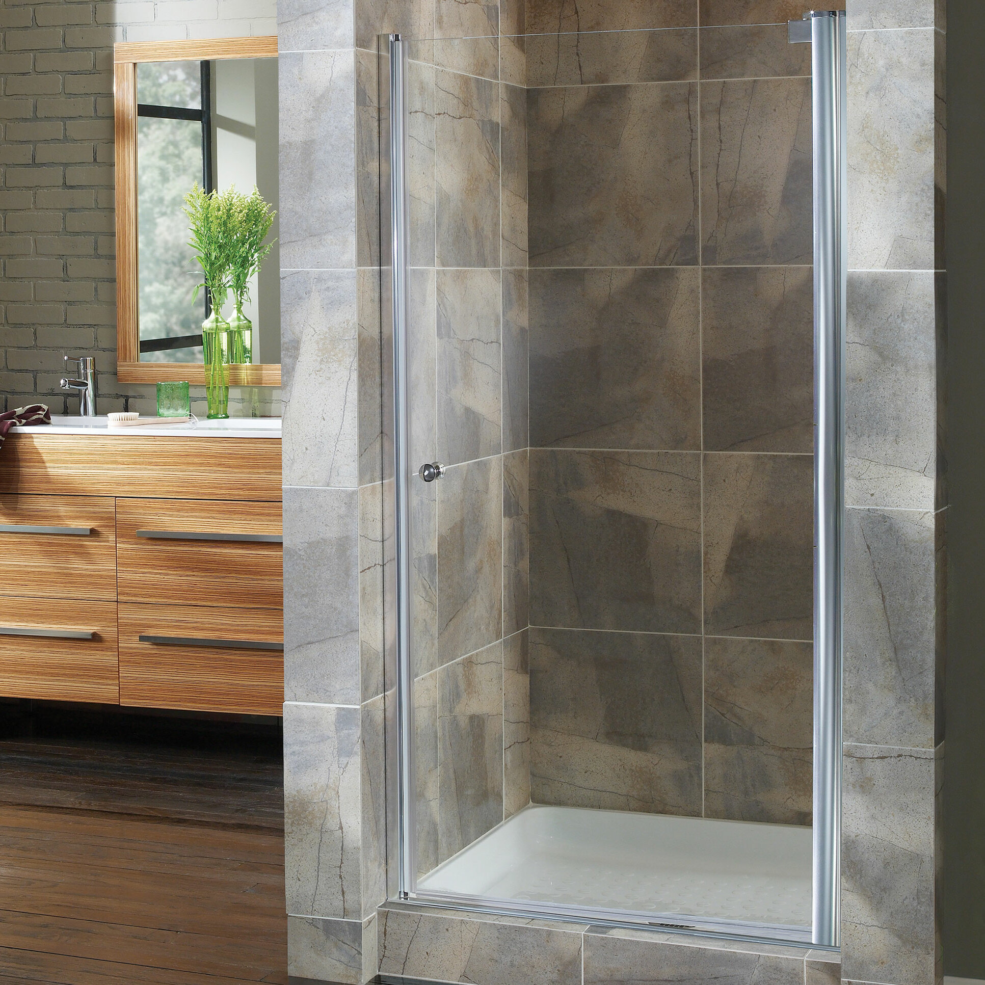 Details About Hazelwood Home Brock 24 5 X 65 Pivot Frameless Shower Door Brushed Nickel