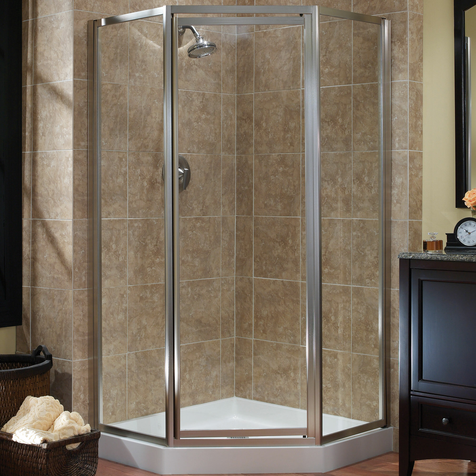 Details About Hazelwood Home Chase 16 75 X 70 Neo Angle Shower Enclosure Silver Clear Glass