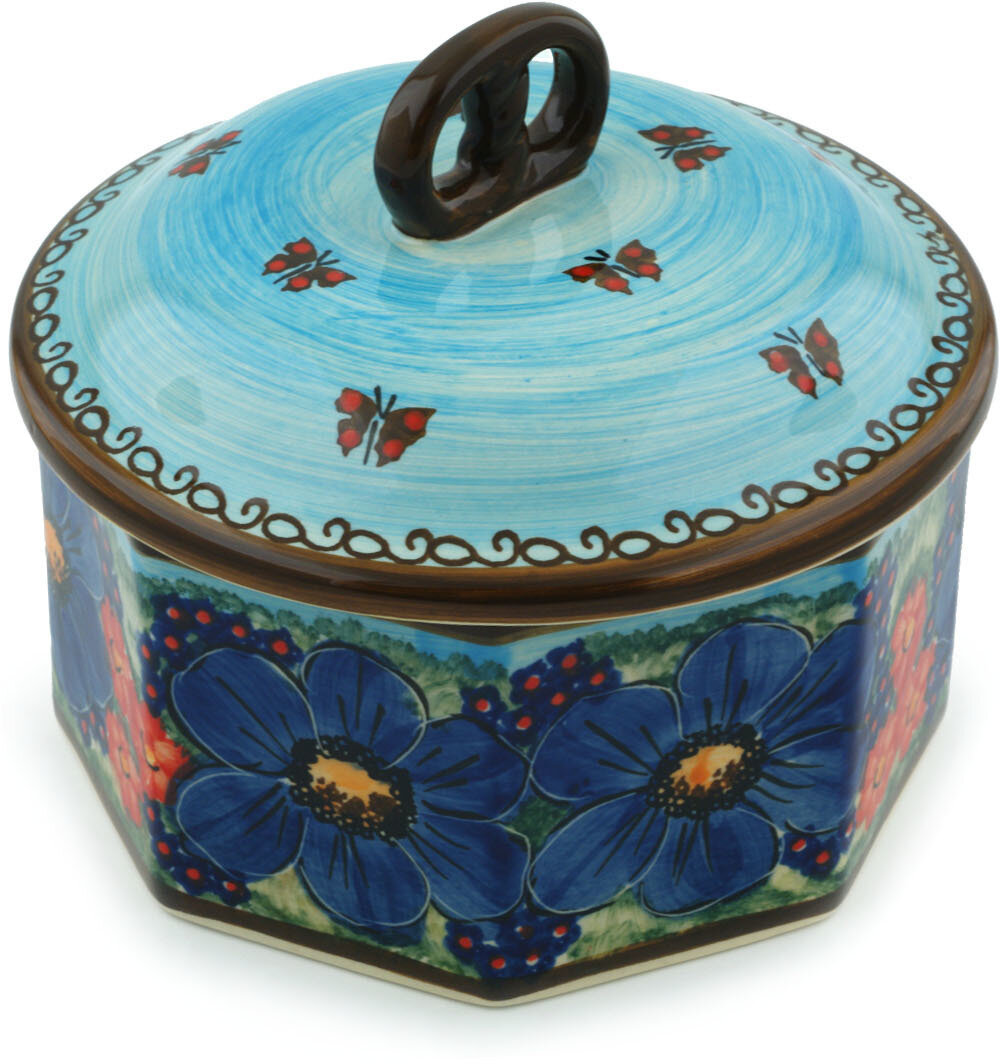 Polmedia Polish Pottery Field of Butterflies with Lid Kitchen ...
