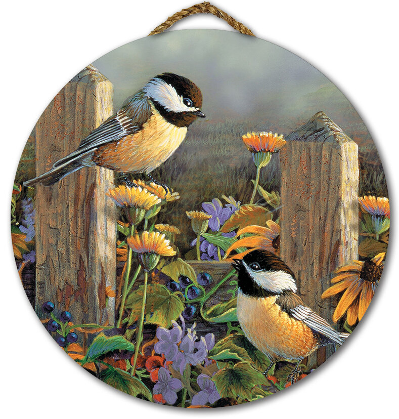 BIRD ART PRINT Chickadees by Carl Brenders Wildlife Pine Cone Poster 24.5x12