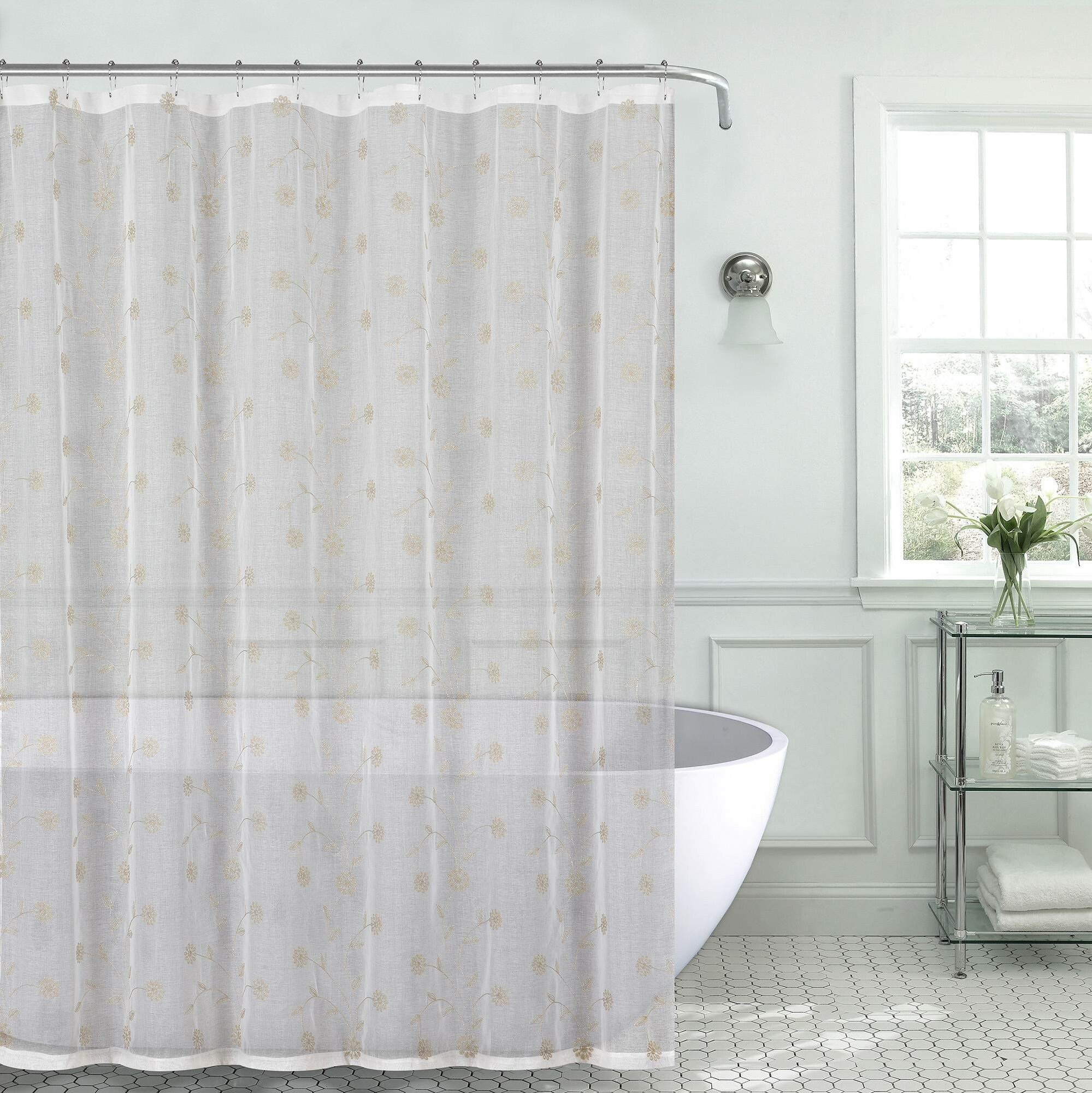 Details About Red Barrel Studio Mirtha Metallic Daisy Embroidered Sheer Fabric Shower Curtain