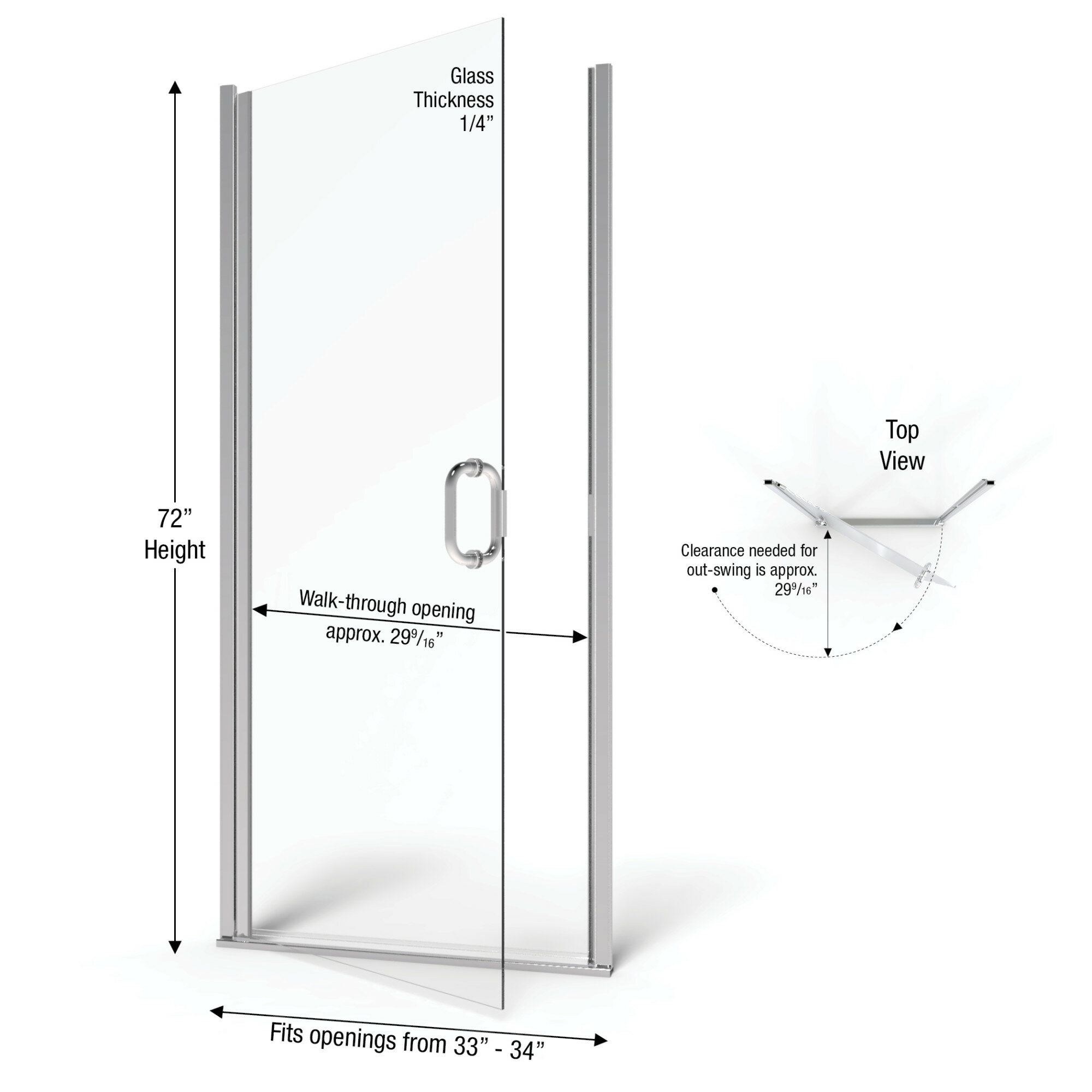 Details About Basco Infinity 34 X 72 Pivot Frameless Shower Door Oil Rubbed Bronze Clear