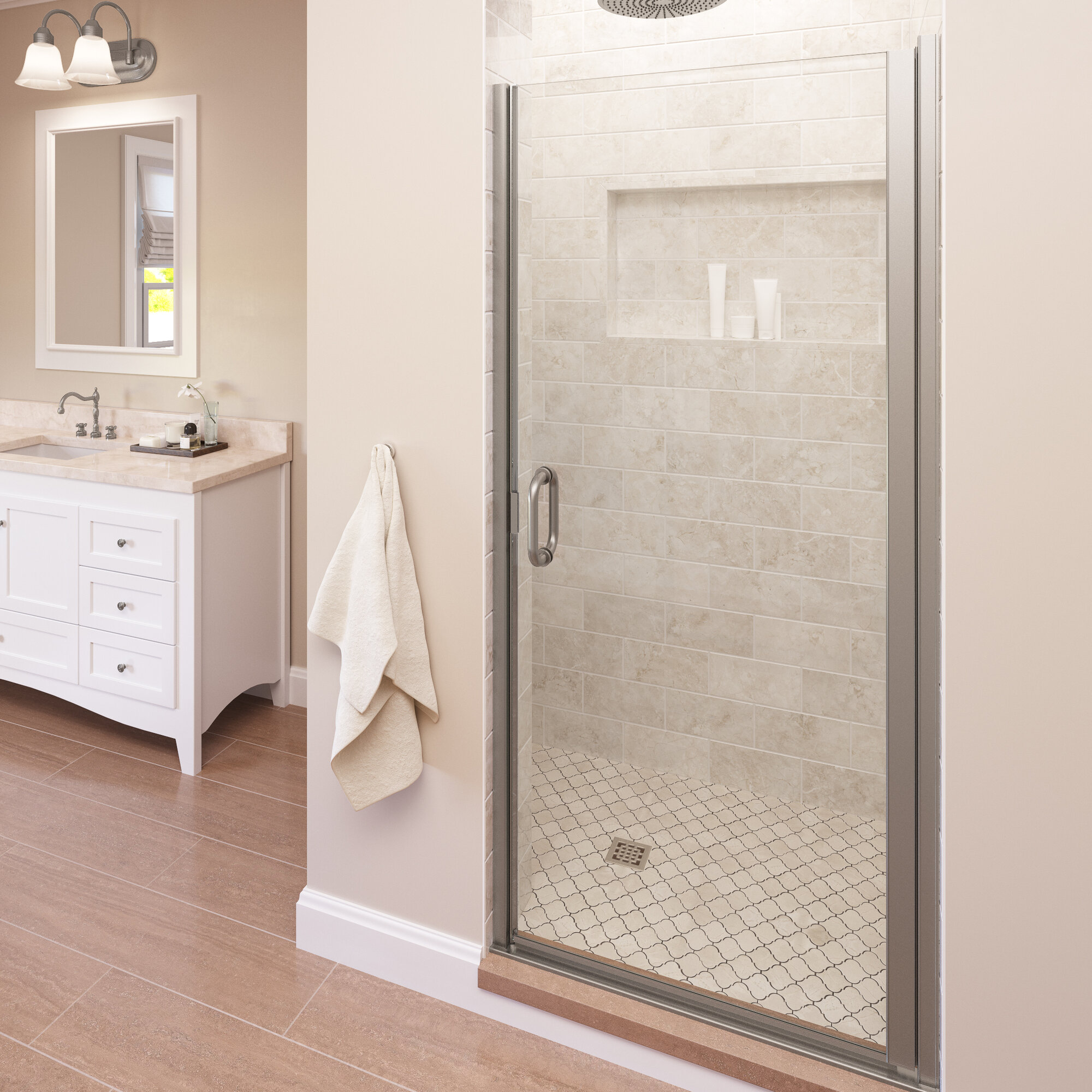 Details About Infinity 33 X72 Semi Frameless Hinge Shower Door Brushed Nickel Aquaglidexp Cle