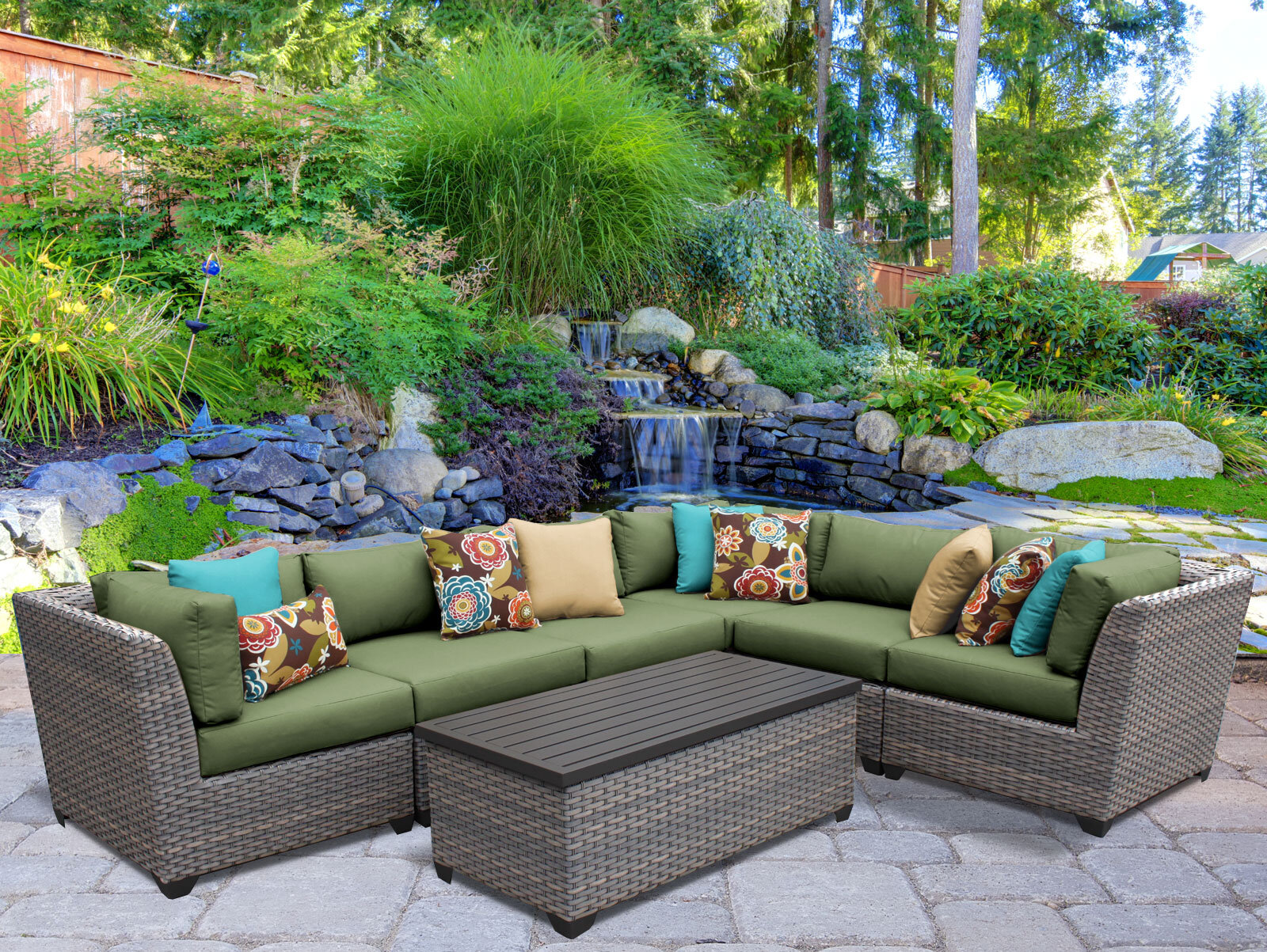 TK Classics Florence 7 Piece Rattan Sectional Set with Cushions | eBay