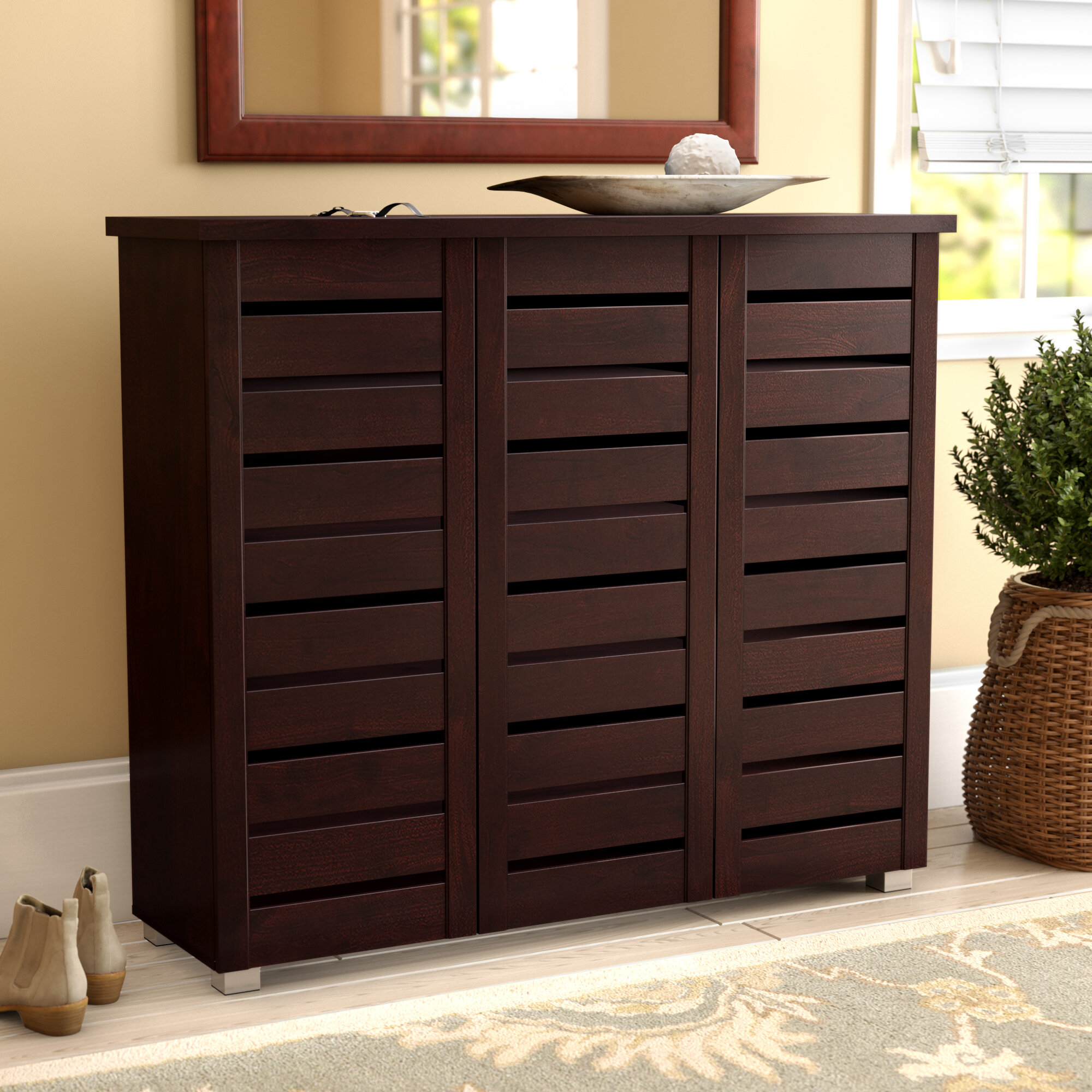 Details About Darby Home Co 20 Pair Slatted Shoe Storage Cabinet