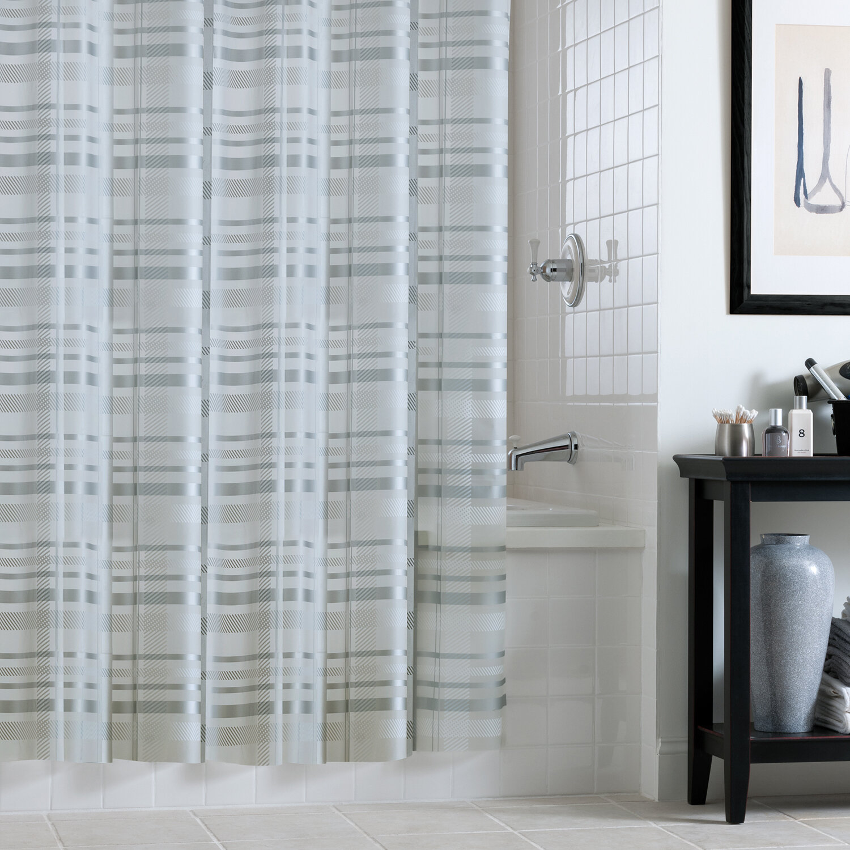 Details About Alcott Hill Buxton PEVA Tartan Plaid Single Shower Curtain