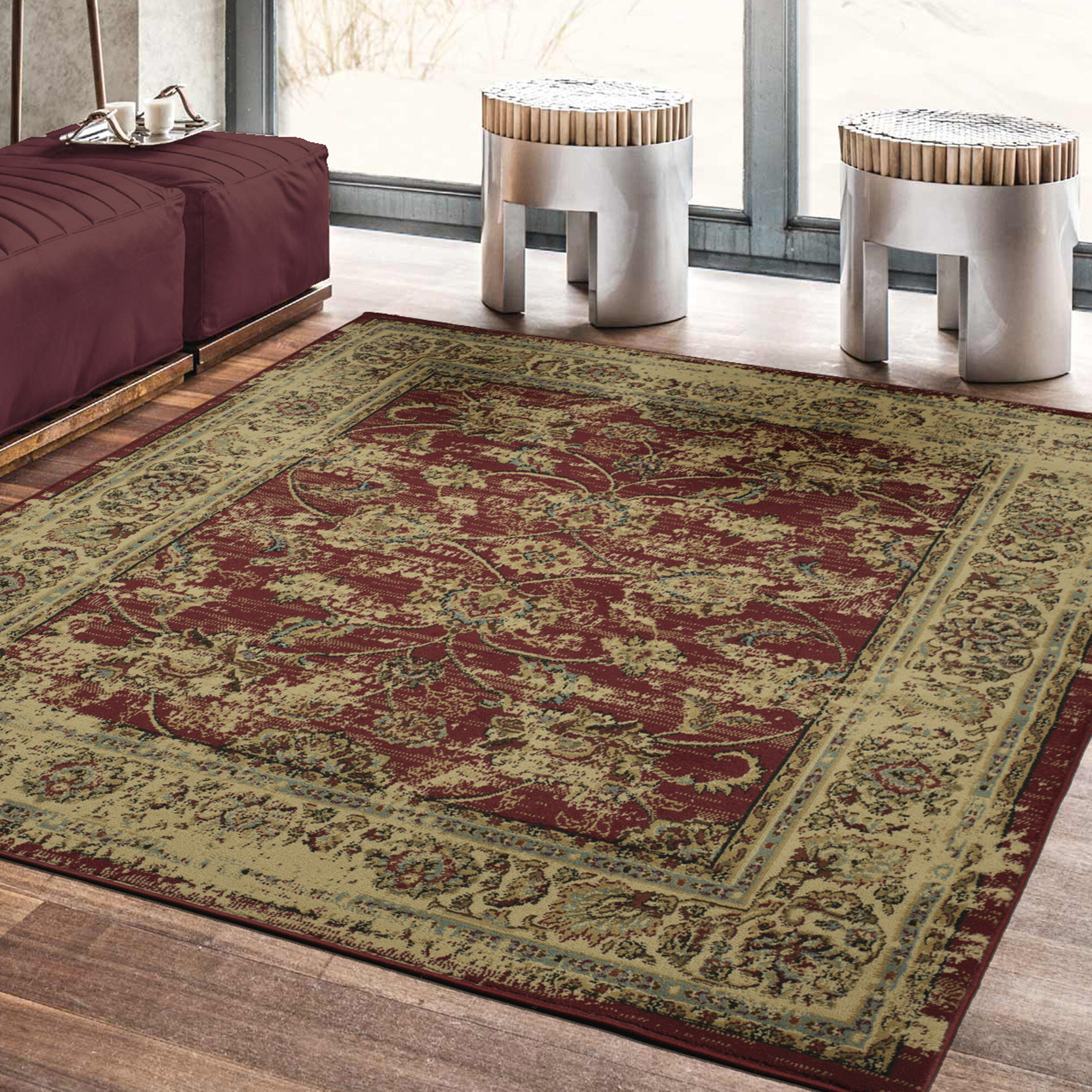 Charlton Home Lamberth Distressed Floral Redyellow Area Rug Ebay