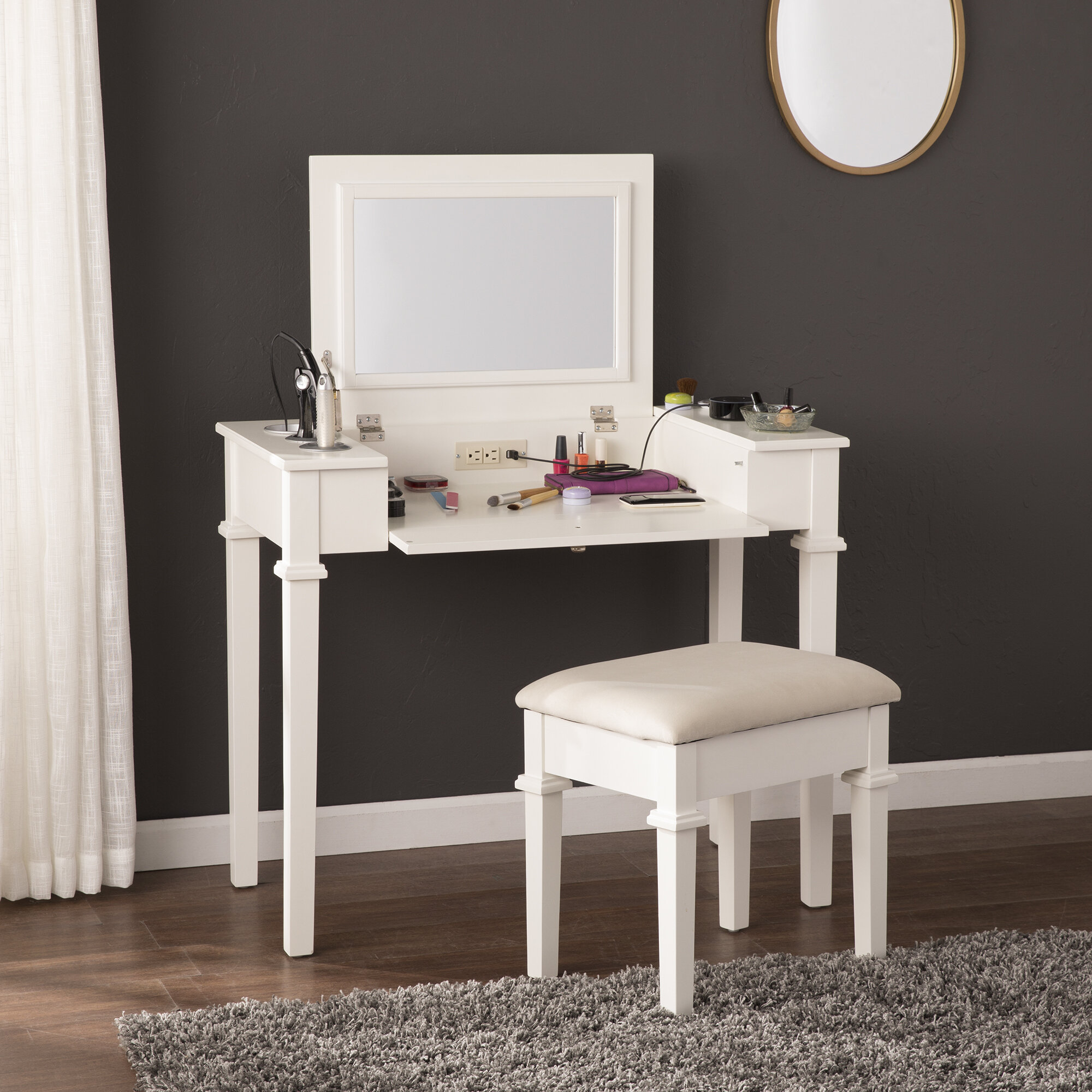 Details About Charlton Home Hutchens Vanity Set With Mirror