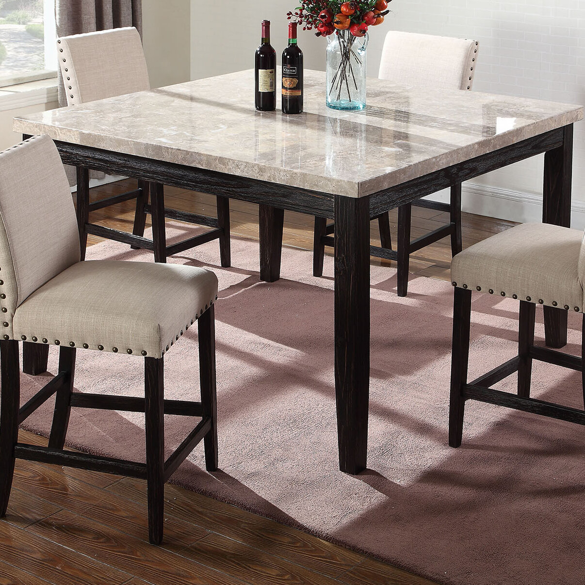 Bon Details About BestMasterFurniture Marble Counter Height Dining Table