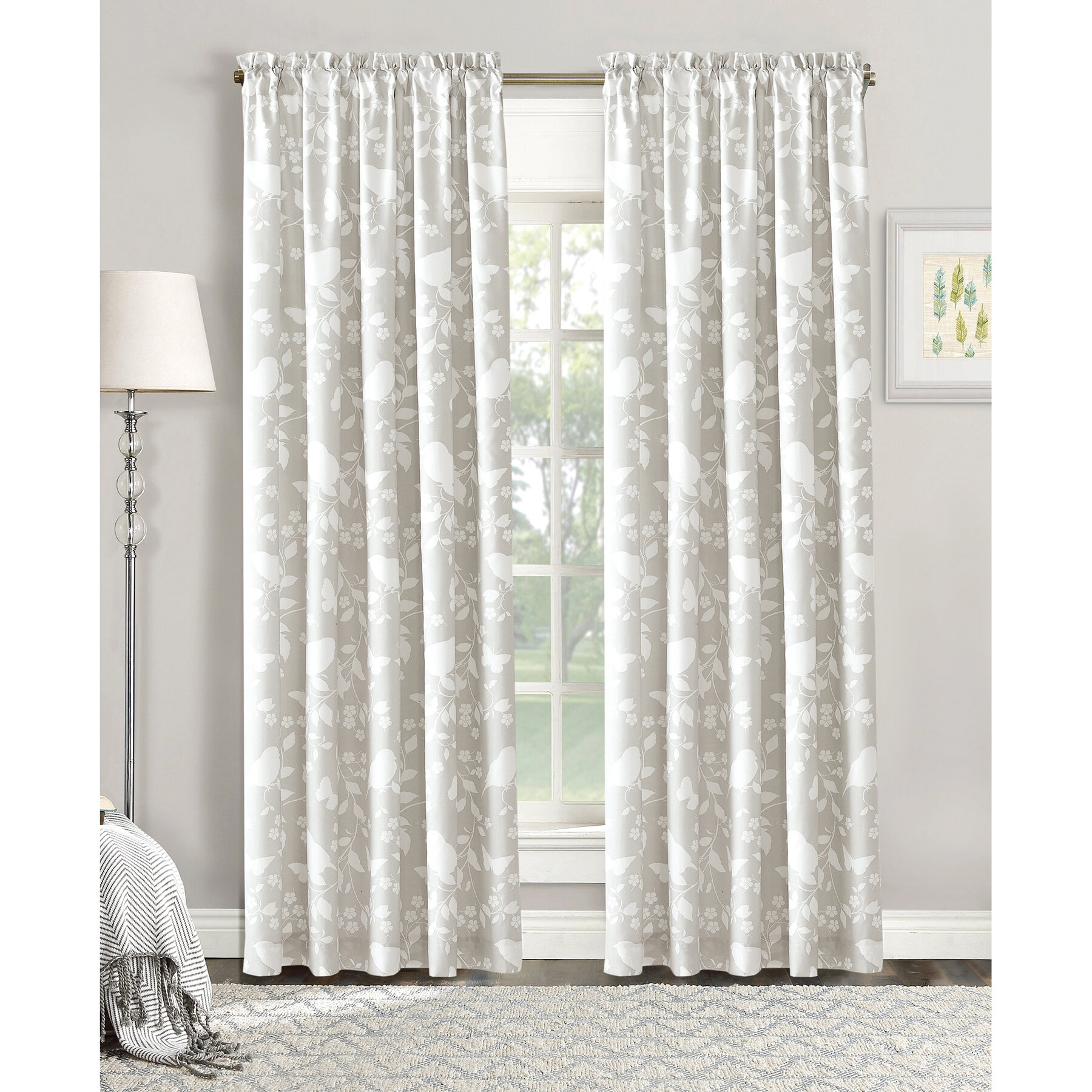 Nature Dream Enjoy The Pleasant Silhouettes Of Birds Erflies Flowers And Vines Throughout Your Beautiful New Curtains Perfect Size