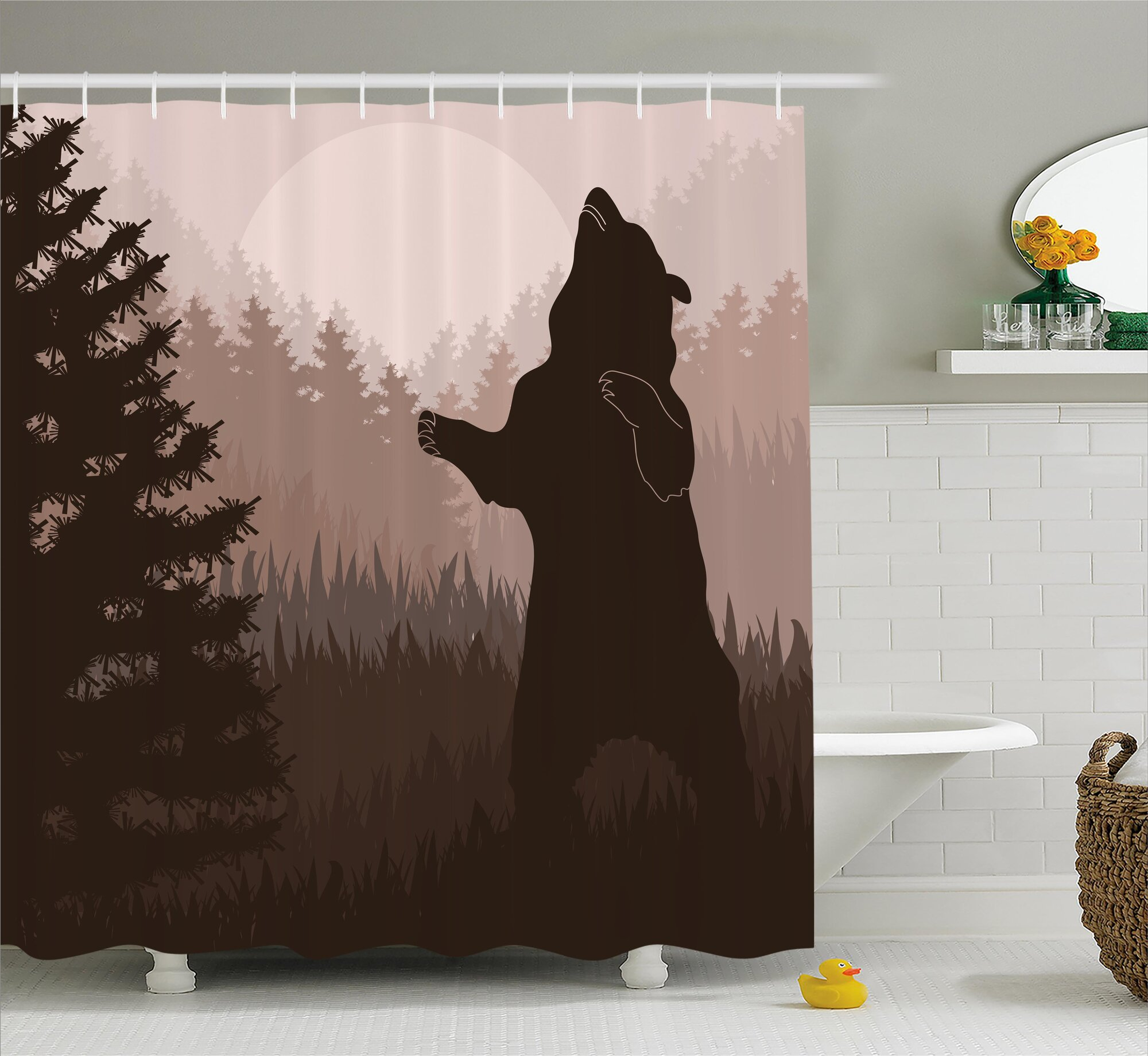 Details About Loon Peak Avers Wild Bear Night Jungle Shower Curtain