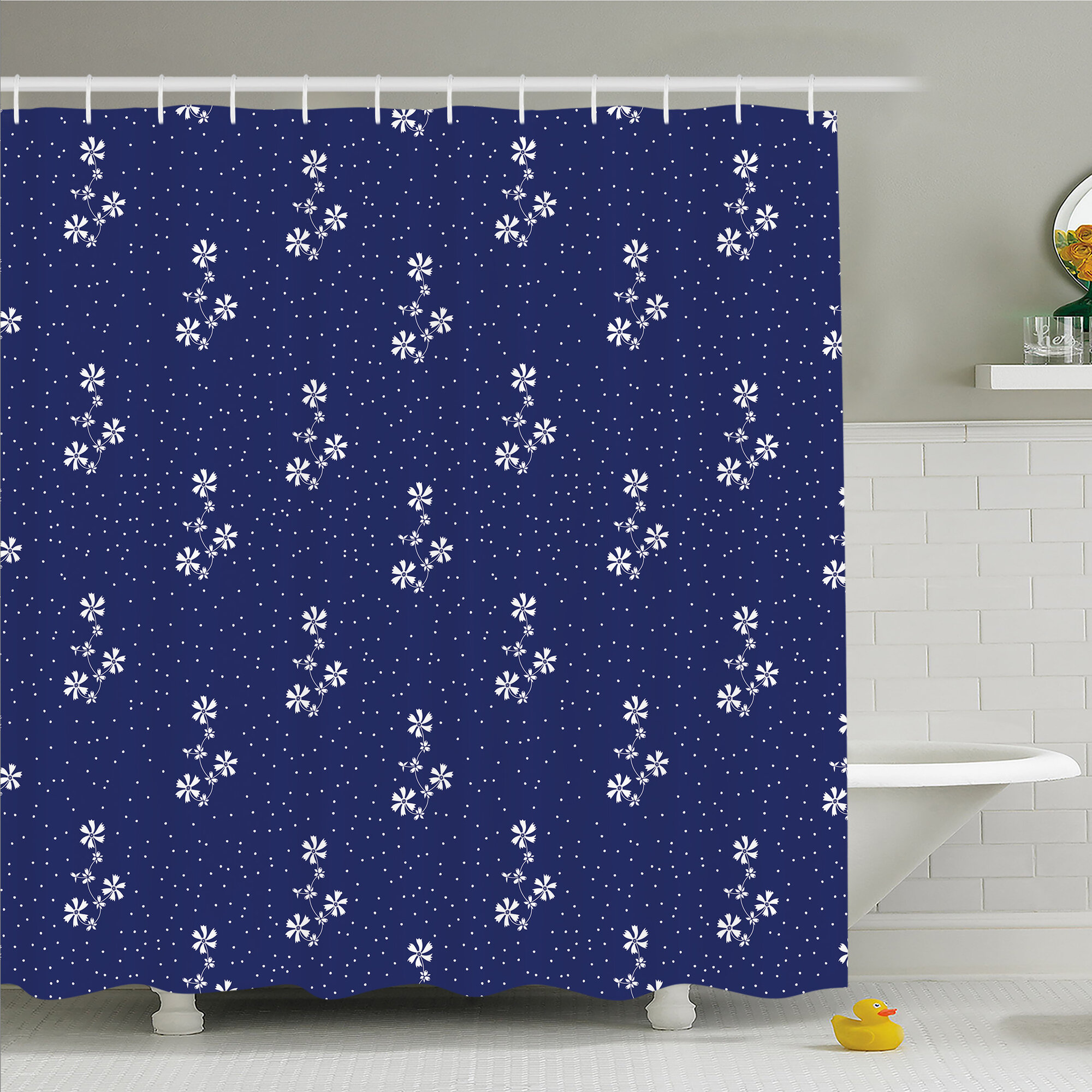 Details About Floral Design Cute Little Dots And Flowers Country Home Art Shower Curtain Set