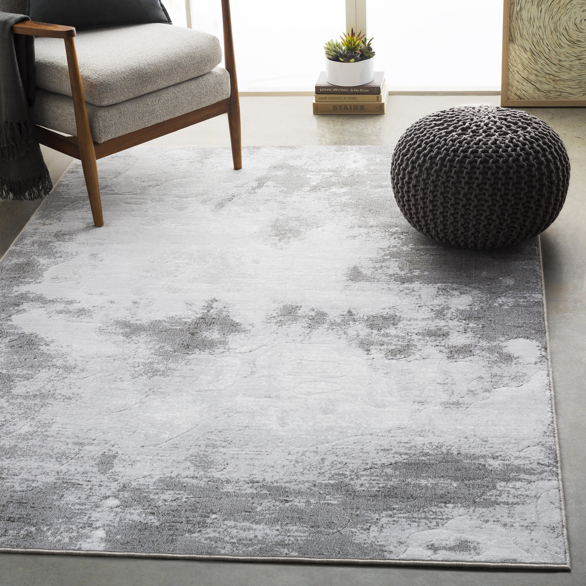 Details About Bungalow Rose Shenk Abstract Light Gray White Area Rug