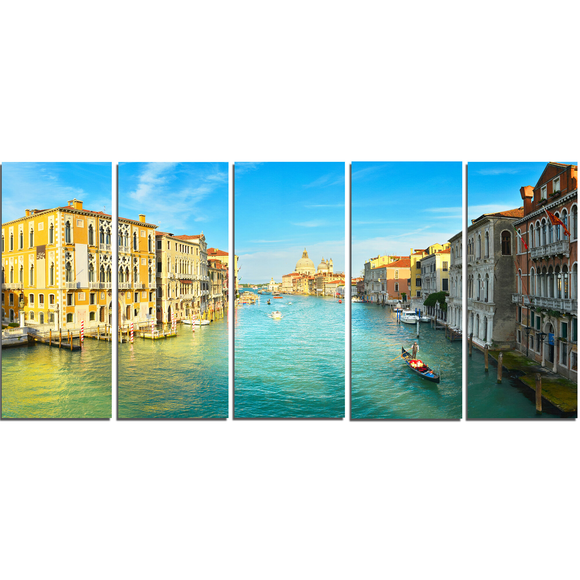 4068 Large Blue Venice Italy Canvas Wall Art Pictures Set XL 130cm
