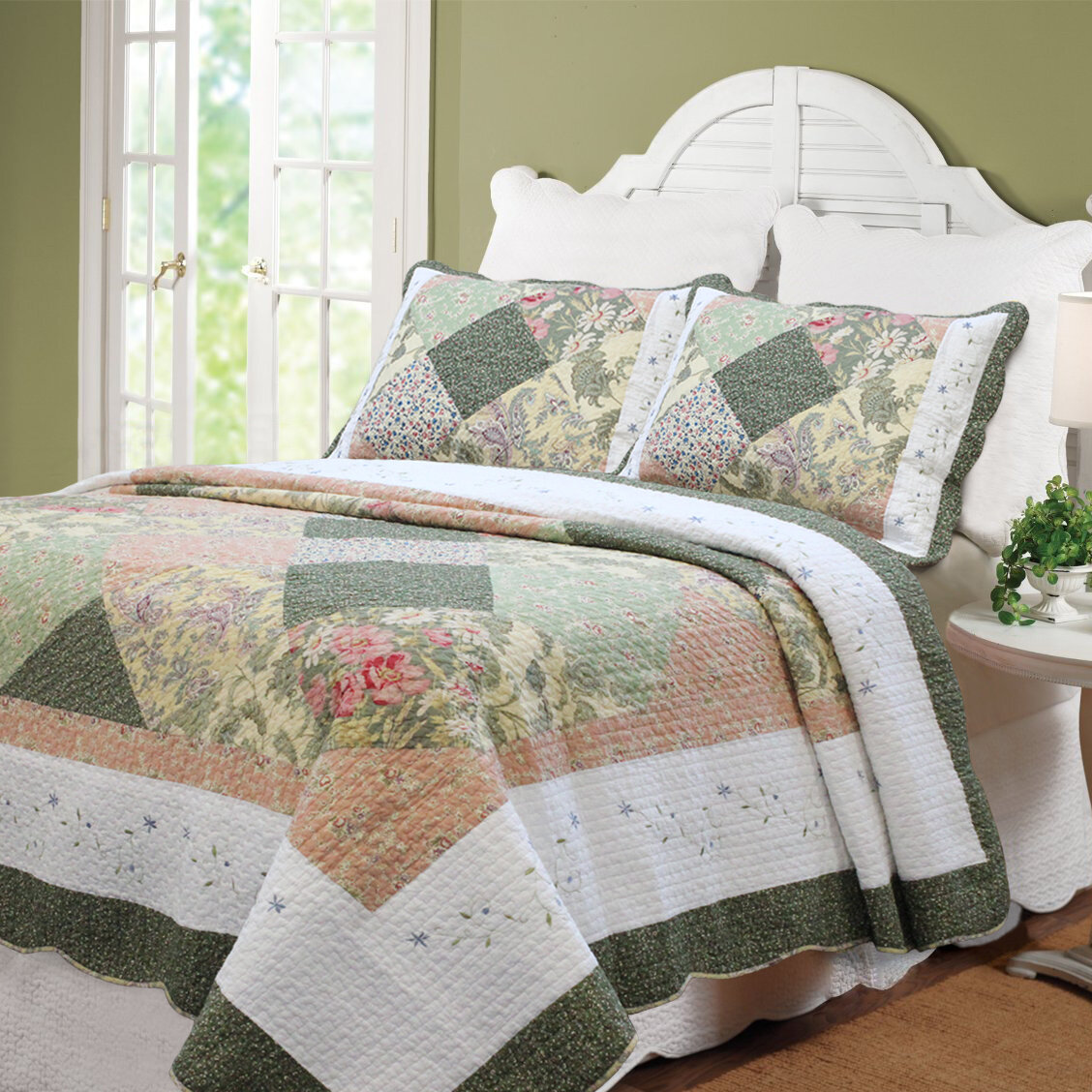 cozy line home fashion williamsburg forest patchwork quilt set | ebay