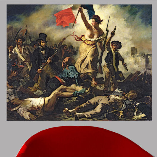 LIBERTY LEADING THE PEOPLE 1830 FRENCH REVOLUTION WOMAN FLAG BY DELACROIX REPRO
