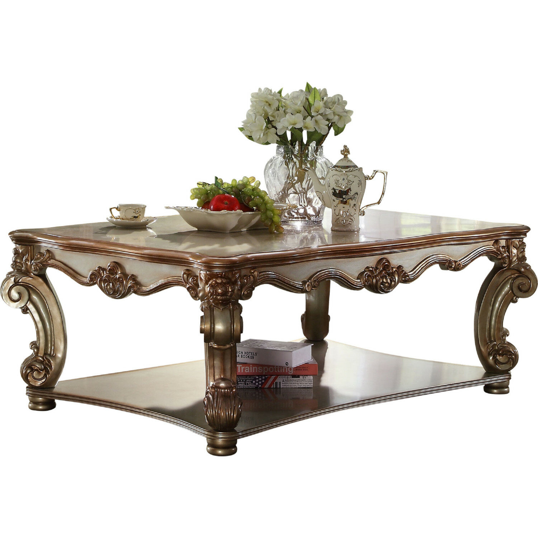 Astoria Grand Mariana Bottom Shelf Wood Coffee Table