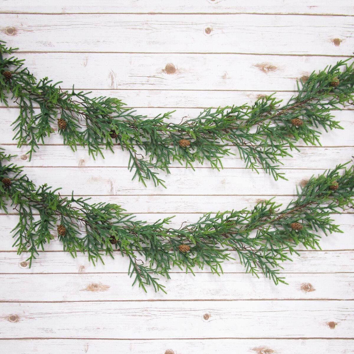 NWT 6/'  Snow Ice Fir Cedar Pine Evergreen Swag Christmas Garland Tied Twig Base
