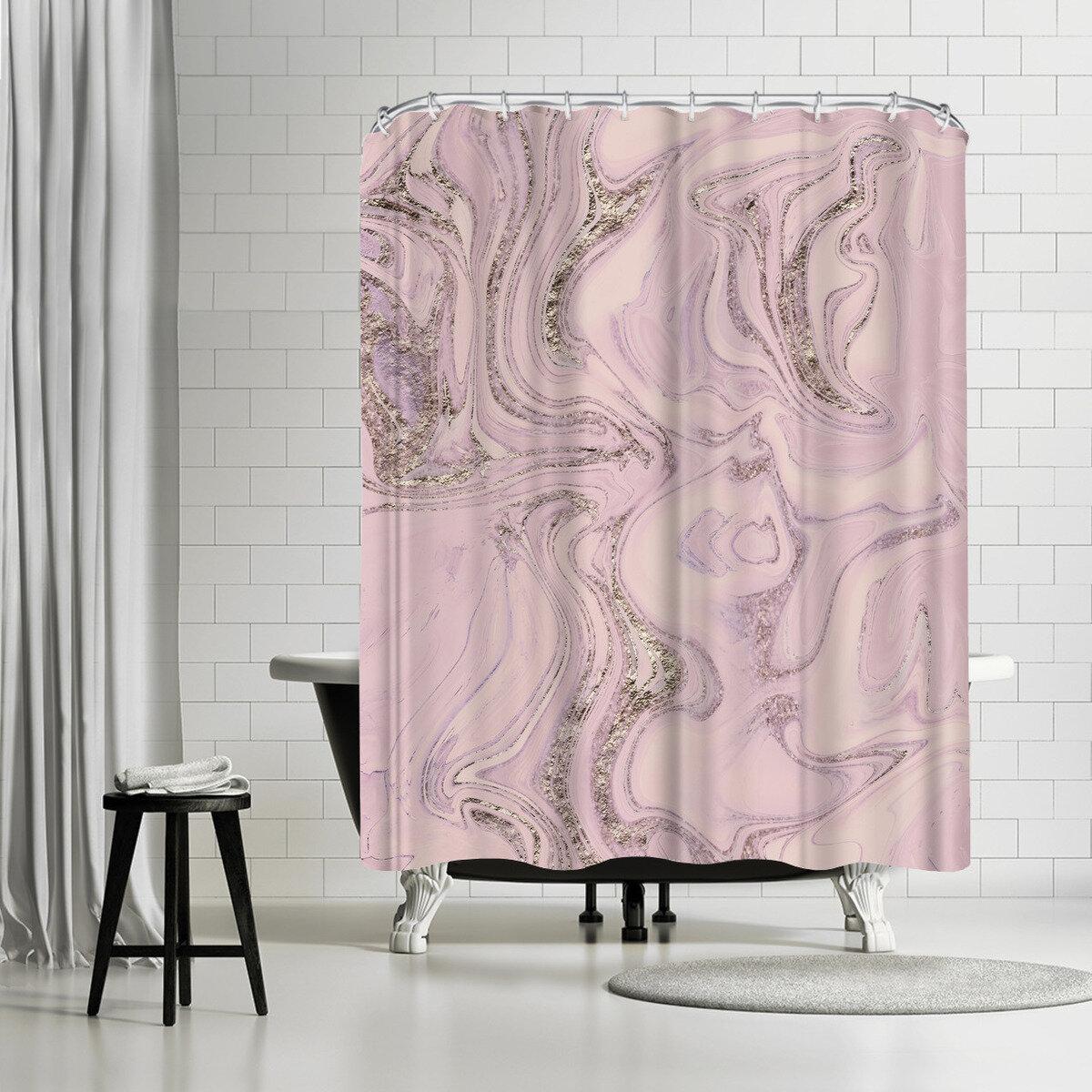 Details About East Urban Home Lebens Art Marble Glitter Shower Curtain