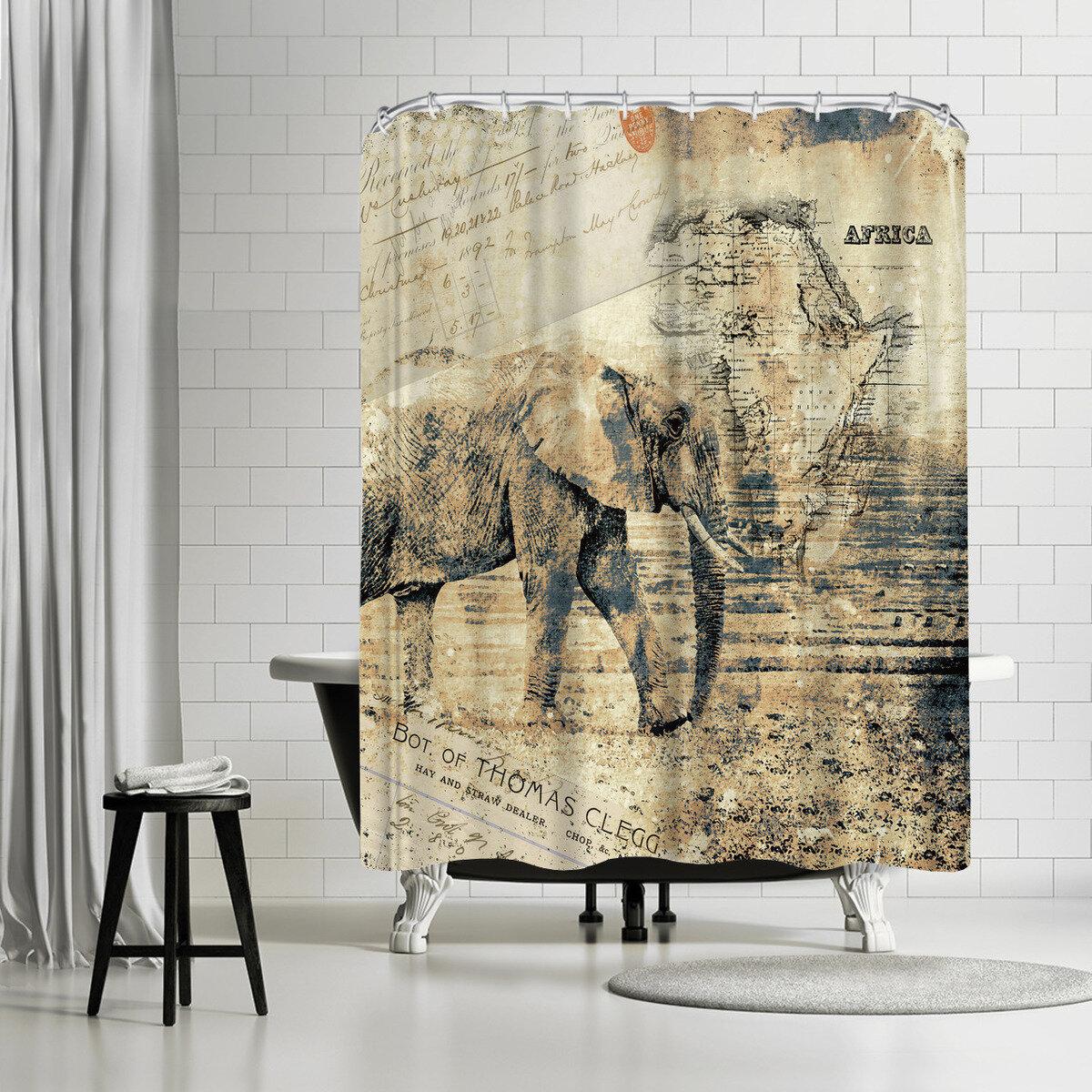 Details About East Urban Home Lebens Art Elephant Single Shower Curtain