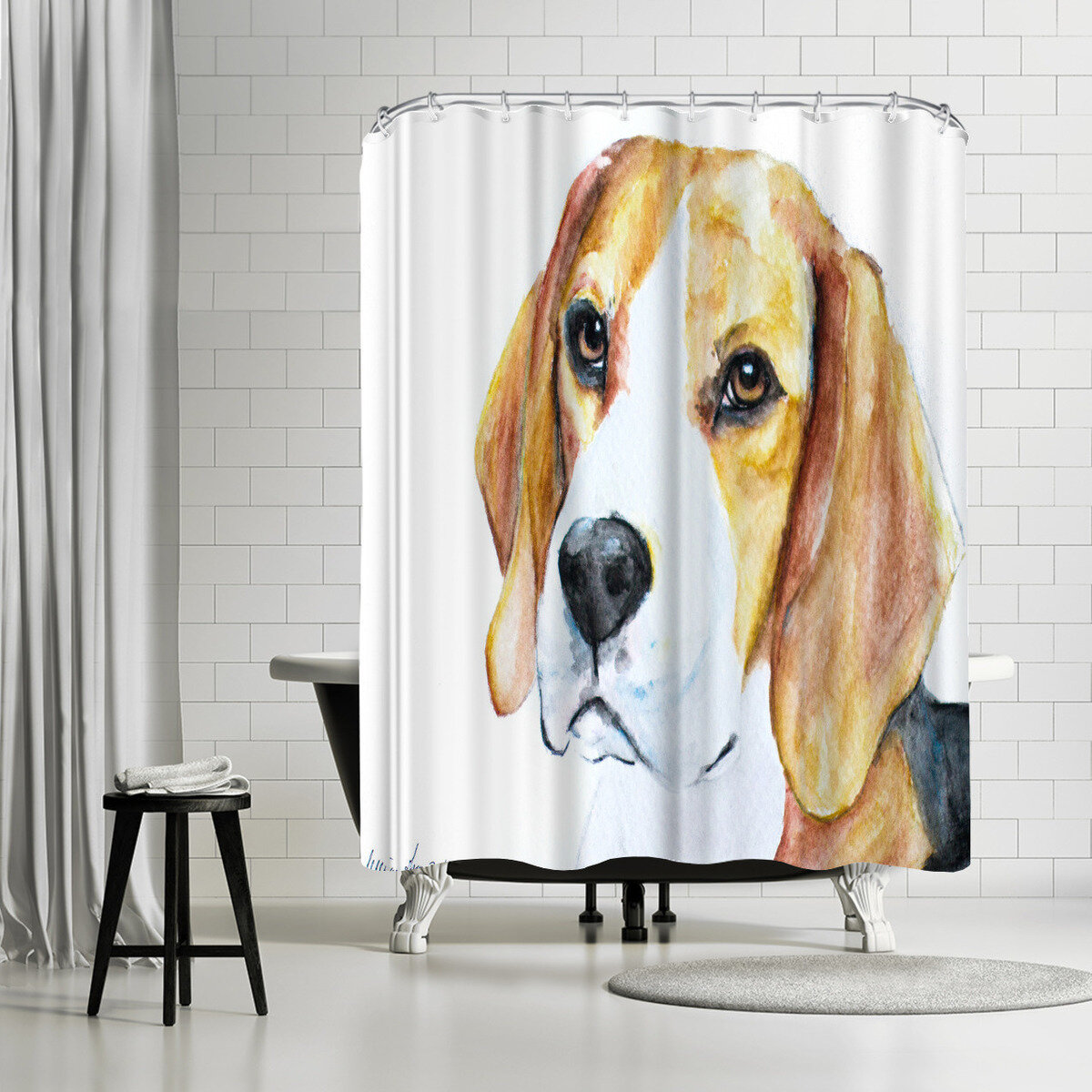 Details About East Urban Home Allison Gray Beagle Shower Curtain