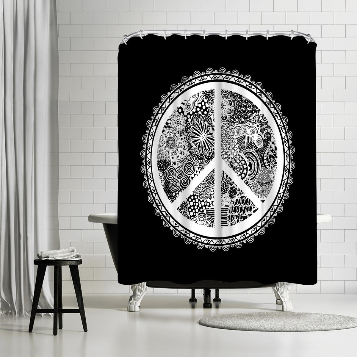 East Urban Home Lebens Art Doodle Peace Symbol Single Shower Curtain 190216524749 Ebay